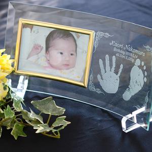 赤ちゃんの手形足型ガラスのフォトフレーム