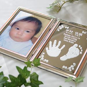 赤ちゃんの手形足型ミラーフォトフレーム