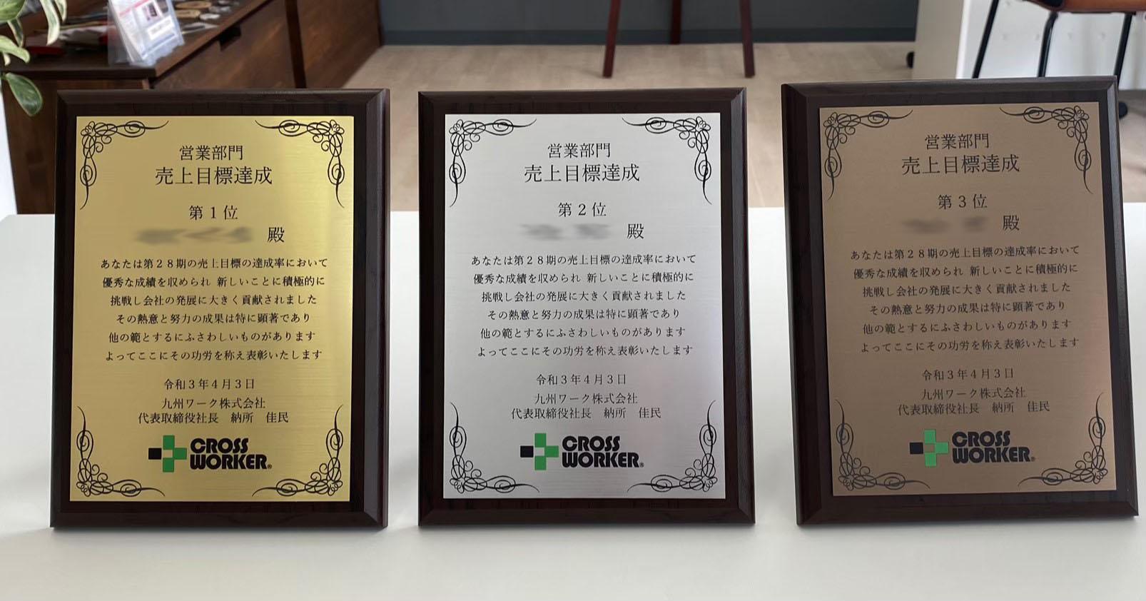 村上彫刻 商品事例 表彰盾 記念盾 盾 営業 九州ワーク クロスワーカー