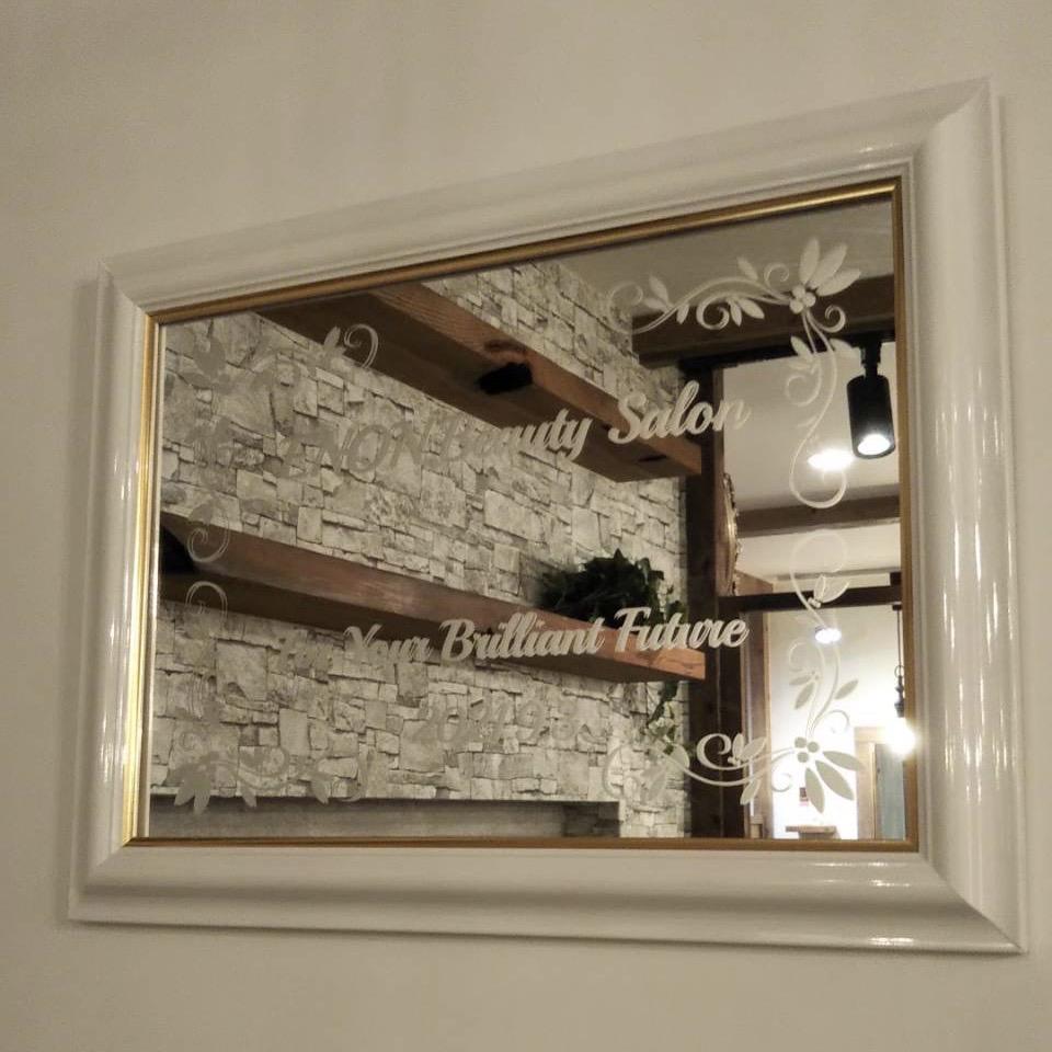 村上彫刻 佐世保 商品事例 エッチング ミラー ウェルカムボード 美容室